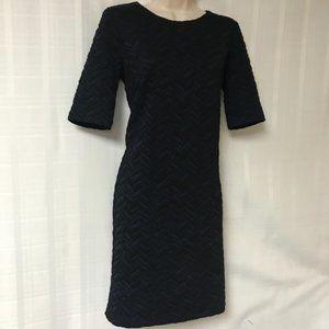 Ronen Chen Navy Blue Black Texture Pattern Dress